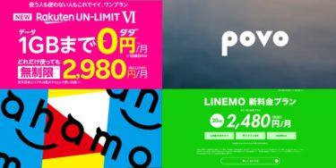 【2/18更新】大手キャリア4社の5G通信新プラン比較。ahamo、povo、LIMEMO、Rakuten UN-LIMTⅥ違いは何か?共通点は?